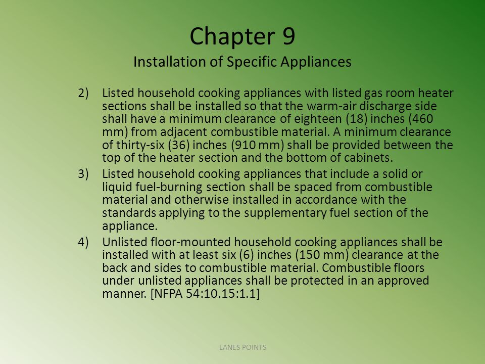 Chapter 9 Installation of Specific Appliances 2)Listed household cooking appliances with listed gas room heater sections shall be installed so that th