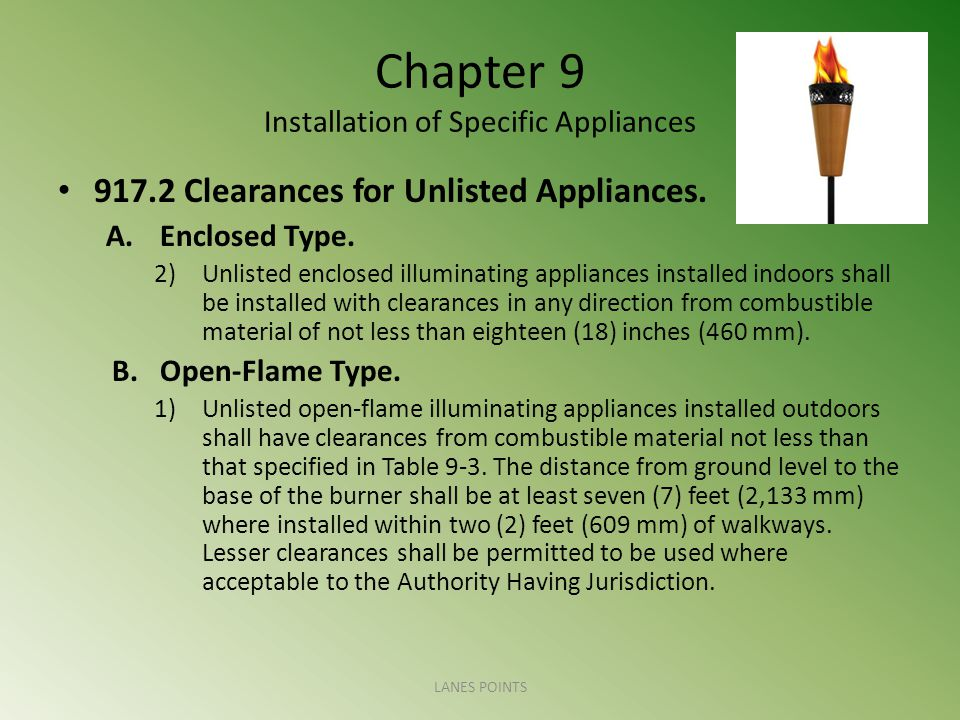 Chapter 9 Installation of Specific Appliances 917.2 Clearances for Unlisted Appliances. A.Enclosed Type. 2)Unlisted enclosed illuminating appliances i