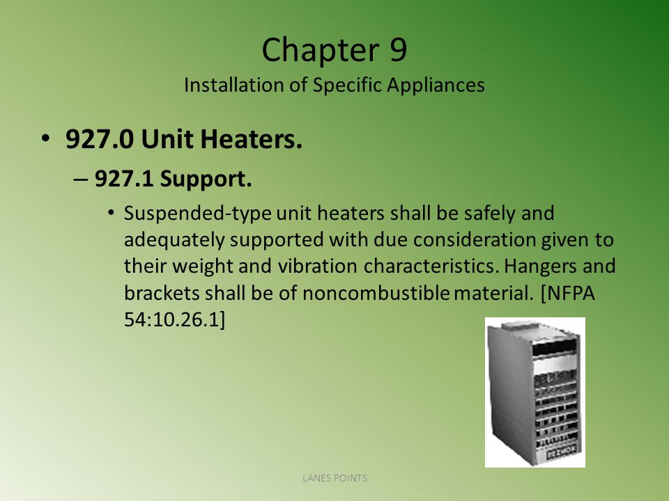 Chapter 9 Installation of Specific Appliances 927.0 Unit Heaters. – 927.1 Support. Suspended-type unit heaters shall be safely and adequately supporte