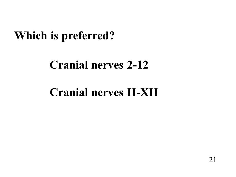 Which is preferred? Cranial nerves 2-12 Cranial nerves II-XII 21