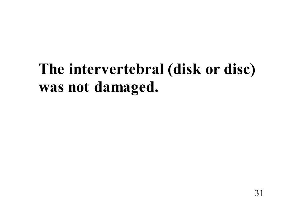 The intervertebral (disk or disc) was not damaged. 31