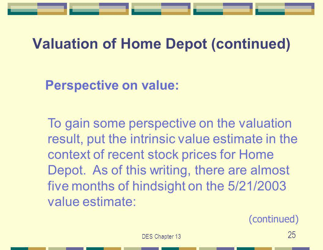DES Chapter 13 25 Valuation of Home Depot (continued) Perspective on value: To gain some perspective on the valuation result, put the intrinsic value estimate in the context of recent stock prices for Home Depot.