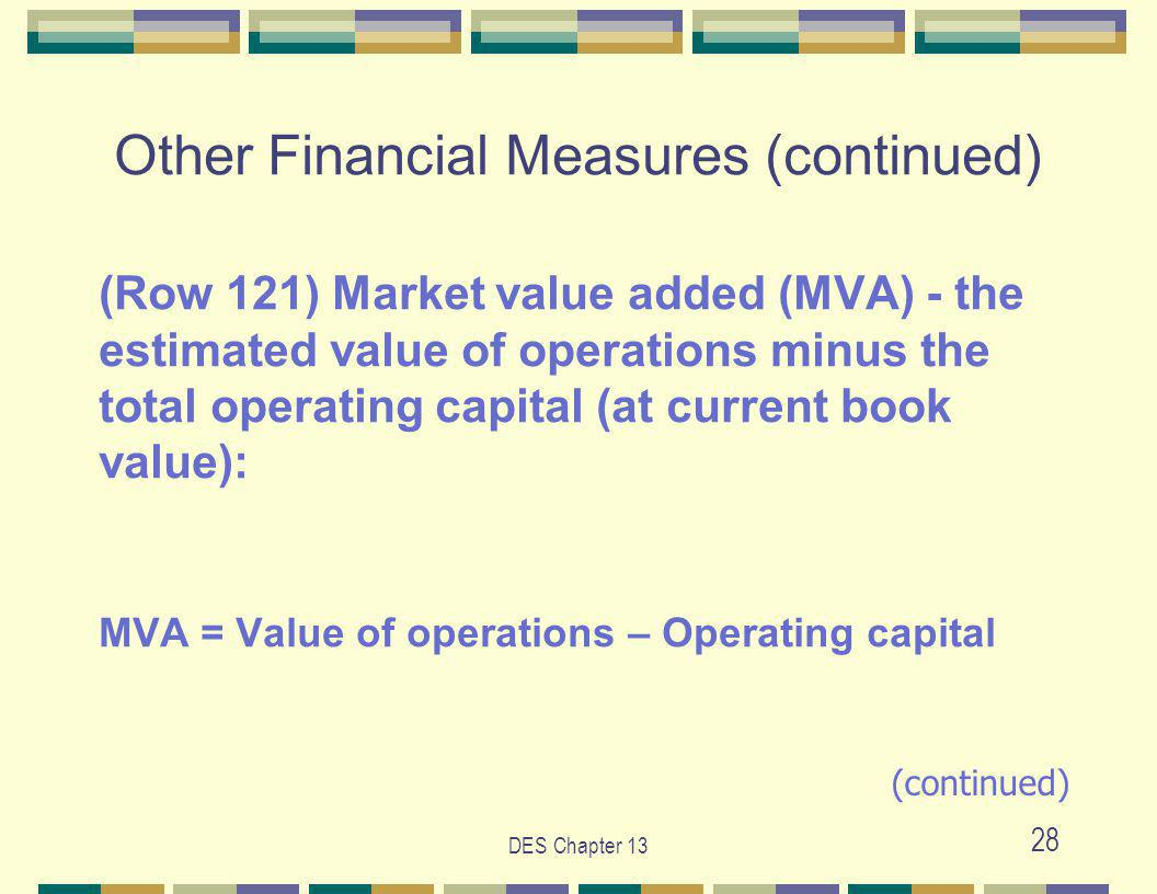 DES Chapter 13 28 Other Financial Measures (continued) (Row 121) Market value added (MVA) - the estimated value of operations minus the total operating capital (at current book value): MVA = Value of operations – Operating capital (continued)