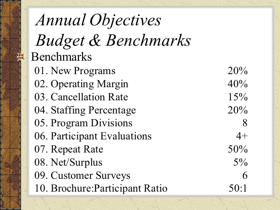 Annual Objectives Budget & Benchmarks Benchmarks 01.