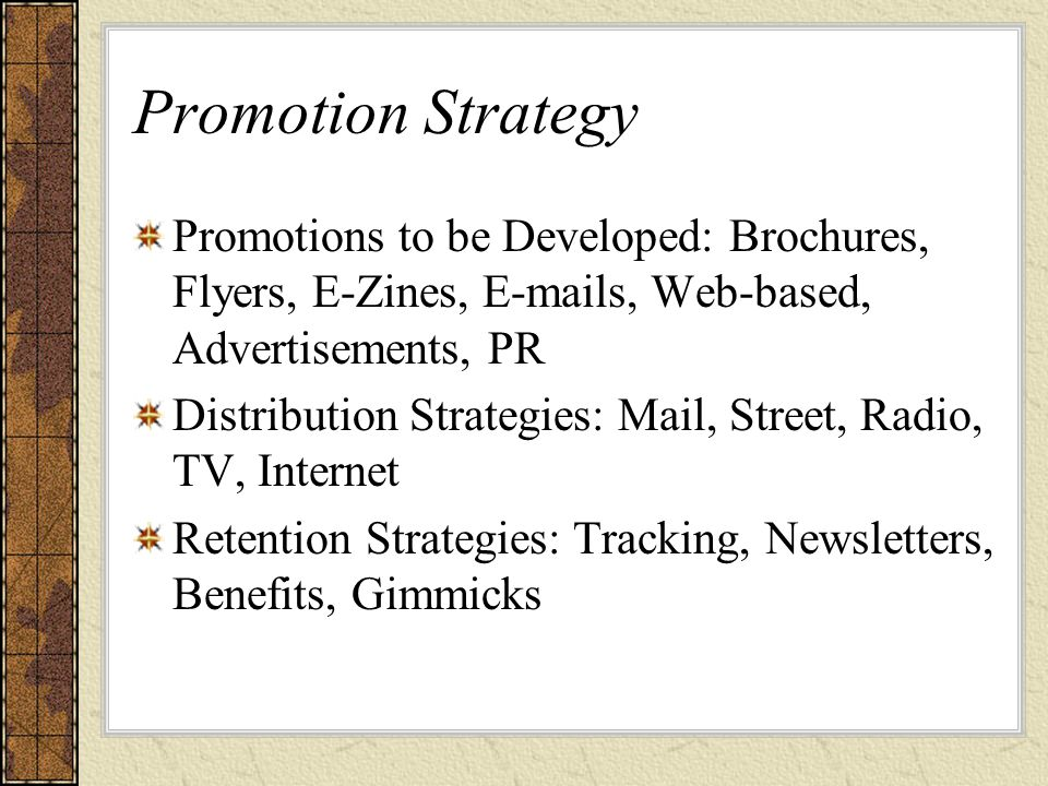 Promotion Strategy Promotions to be Developed: Brochures, Flyers, E-Zines, E-mails, Web-based, Advertisements, PR Distribution Strategies: Mail, Street, Radio, TV, Internet Retention Strategies: Tracking, Newsletters, Benefits, Gimmicks