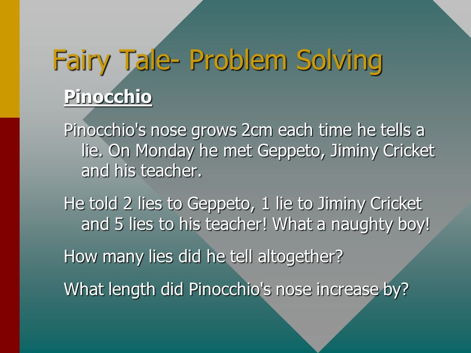 Fairy Tale- Problem Solving Pinocchio Pinocchio's nose grows 2cm each time he tells a lie. On Monday he met Geppeto, Jiminy Cricket and his teacher. H