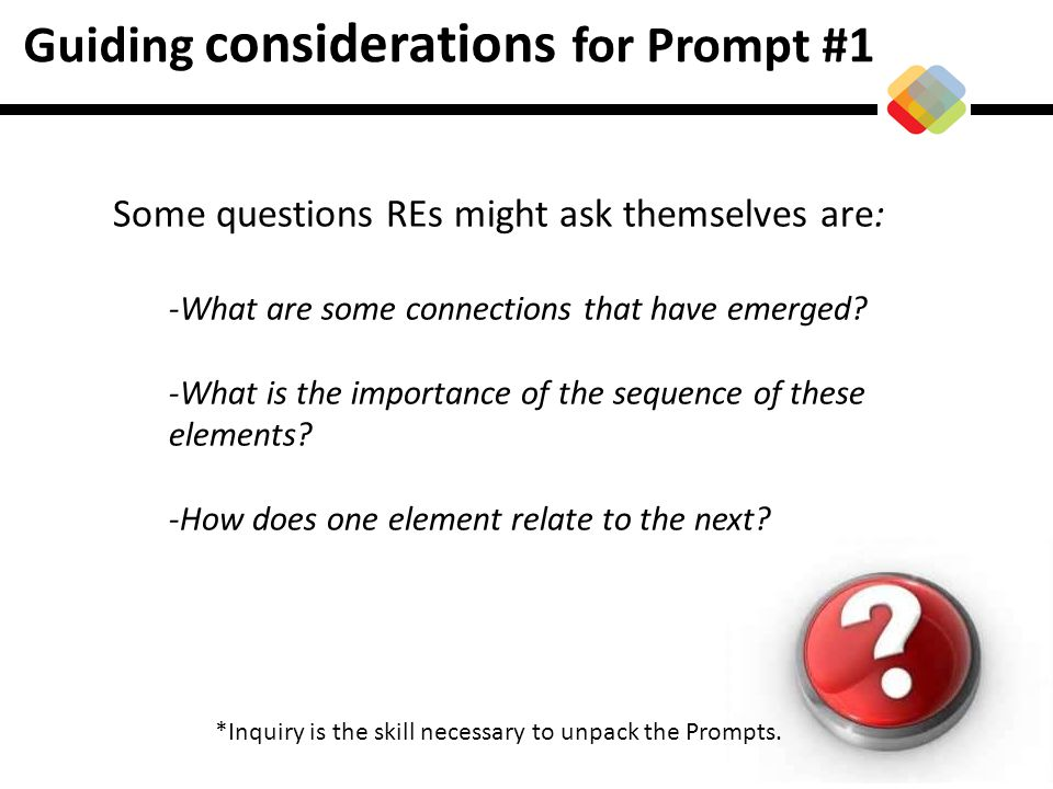 Guiding considerations for Prompt #1 Some questions REs might ask themselves are: -What are some connections that have emerged? -What is the importanc