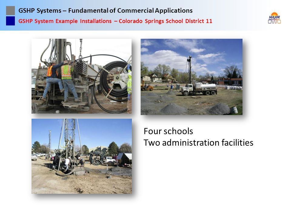 GSHP Systems – Fundamental of Commercial Applications Four schools Two administration facilities GSHP System Example Installations – Colorado Springs