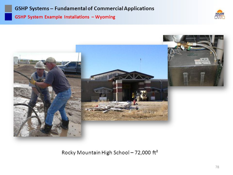 GSHP Systems – Fundamental of Commercial Applications Rocky Mountain High School – 72,000 ft² 78 GSHP System Example Installations – Wyoming