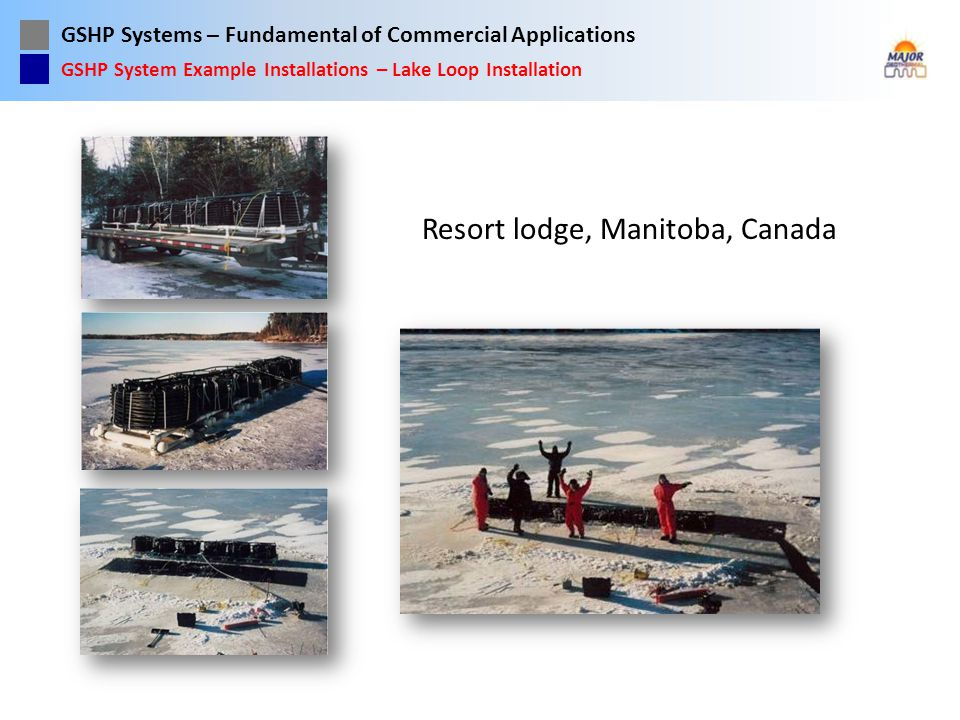GSHP Systems – Fundamental of Commercial Applications Resort lodge, Manitoba, Canada GSHP System Example Installations – Lake Loop Installation