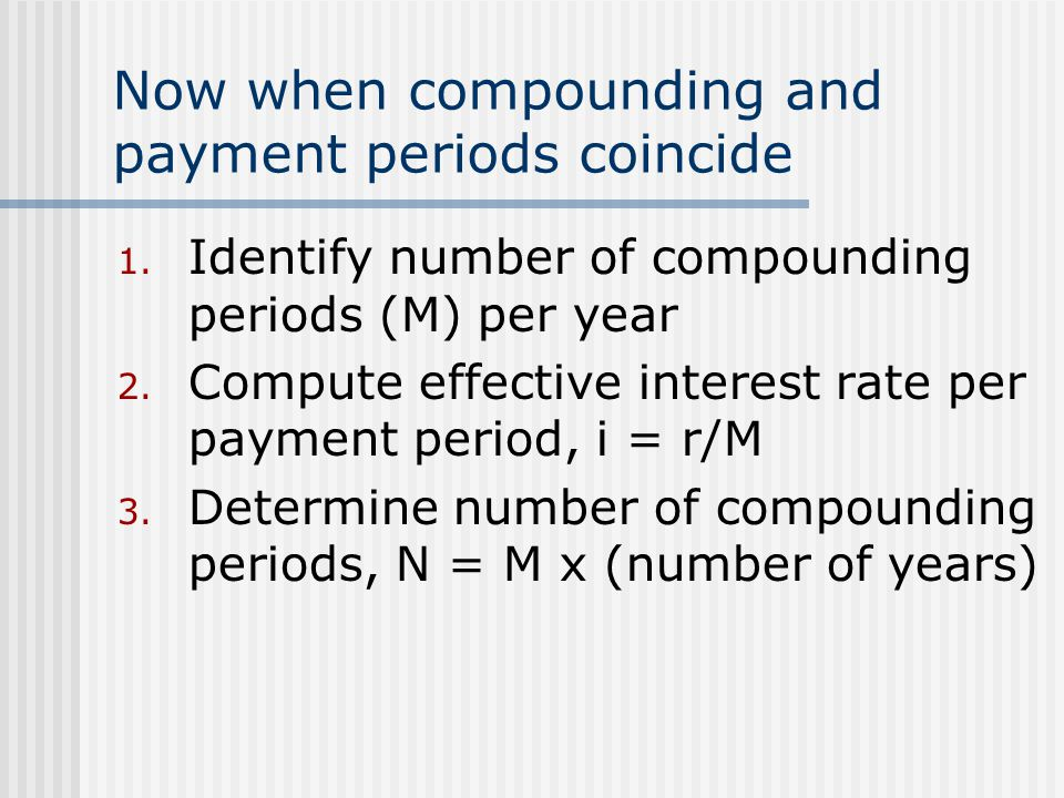 Now when compounding and payment periods coincide 1.