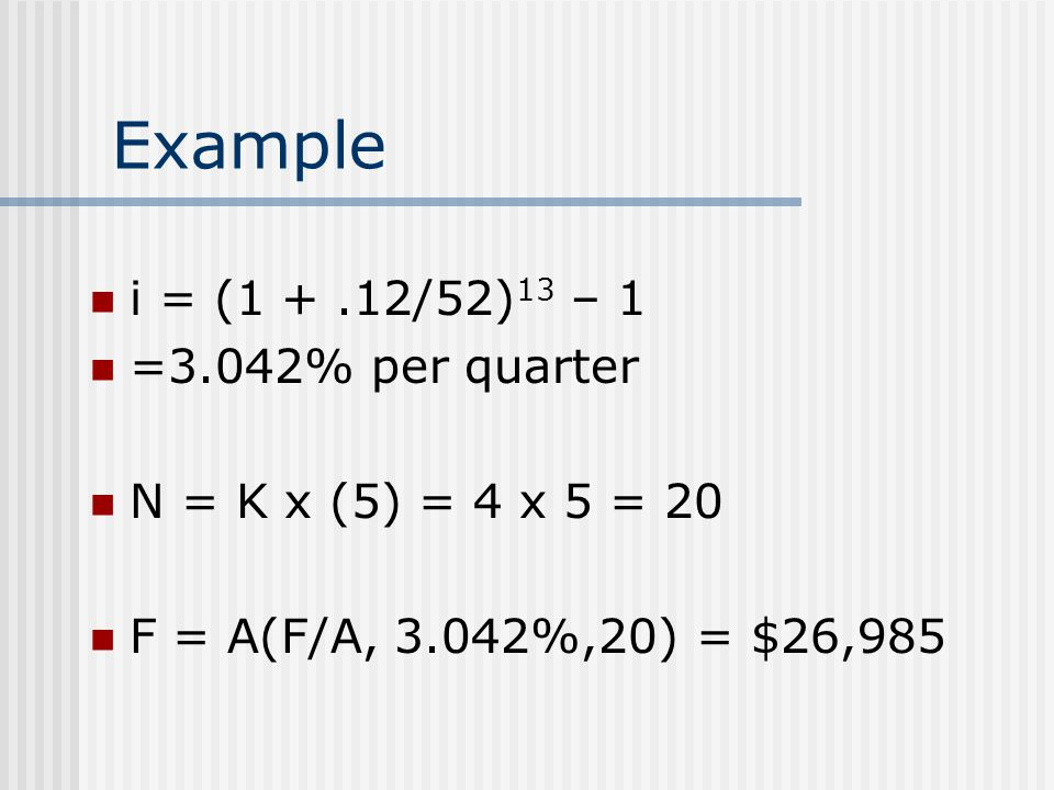 Example i = (1 +.12/52) 13 – 1 =3.042% per quarter N = K x (5) = 4 x 5 = 20 F = A(F/A, 3.042%,20) = $26,985