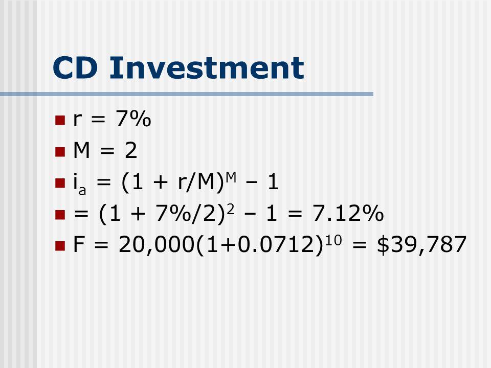 CD Investment r = 7% M = 2 i a = (1 + r/M) M – 1 = (1 + 7%/2) 2 – 1 = 7.12% F = 20,000(1+0.0712) 10 = $39,787