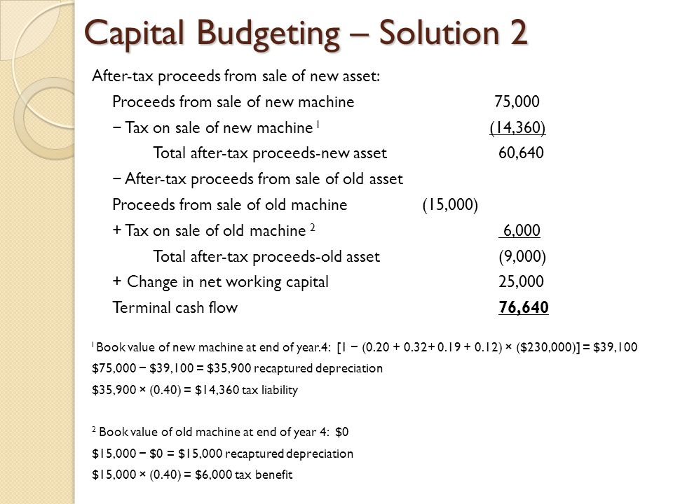 Capital Budgeting – Solution 2 After-tax proceeds from sale of new asset: Proceeds from sale of new machine 75,000 Tax on sale of new machine l (14,36
