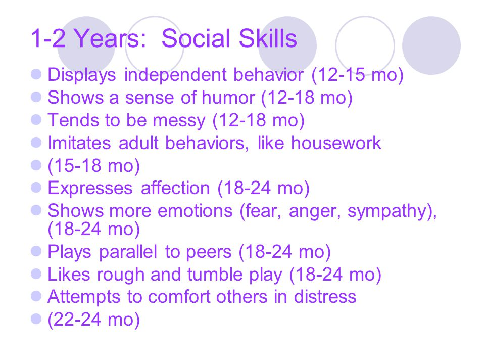 1-2 Years: Social Skills Displays independent behavior (12-15 mo) Shows a sense of humor (12-18 mo) Tends to be messy (12-18 mo) Imitates adult behavi
