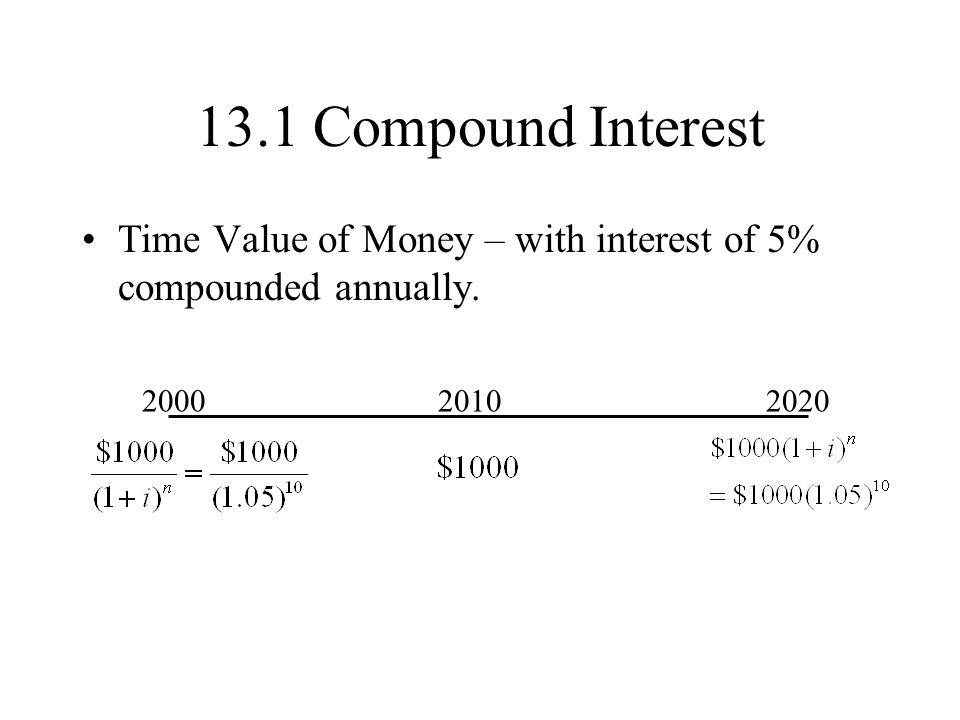13.1 Compound Interest Time Value of Money – with interest of 5% compounded annually. 200020102020