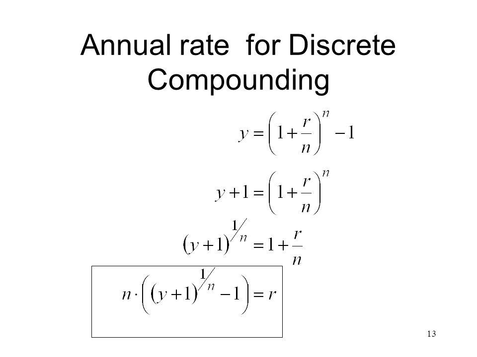 13 Annual rate for Discrete Compounding