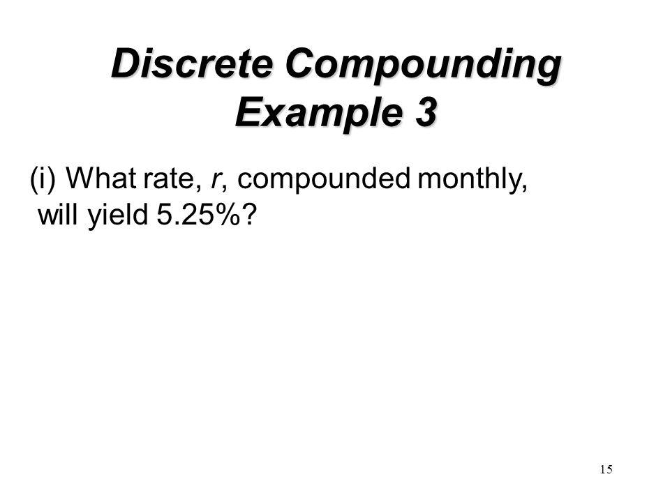 15 Discrete Compounding Example 3 (i)What rate, r, compounded monthly, will yield 5.25%?