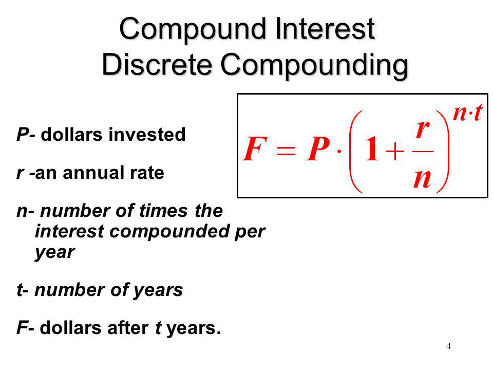 4 Compound Interest Discrete Compounding P- dollars invested r -an annual rate n- number of times the interest compounded per year t- number of years