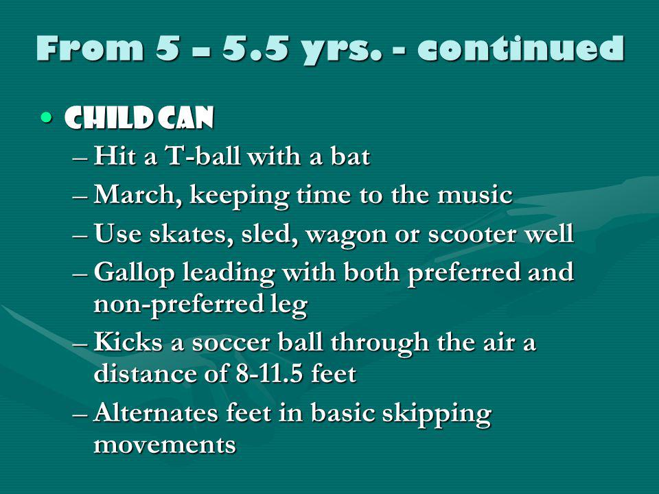 From 5 – 5.5 years Child canChild can –Stand on one foot without visual feedback –Walk the balance beam forward, sideways and backwards –Run 35 feet i