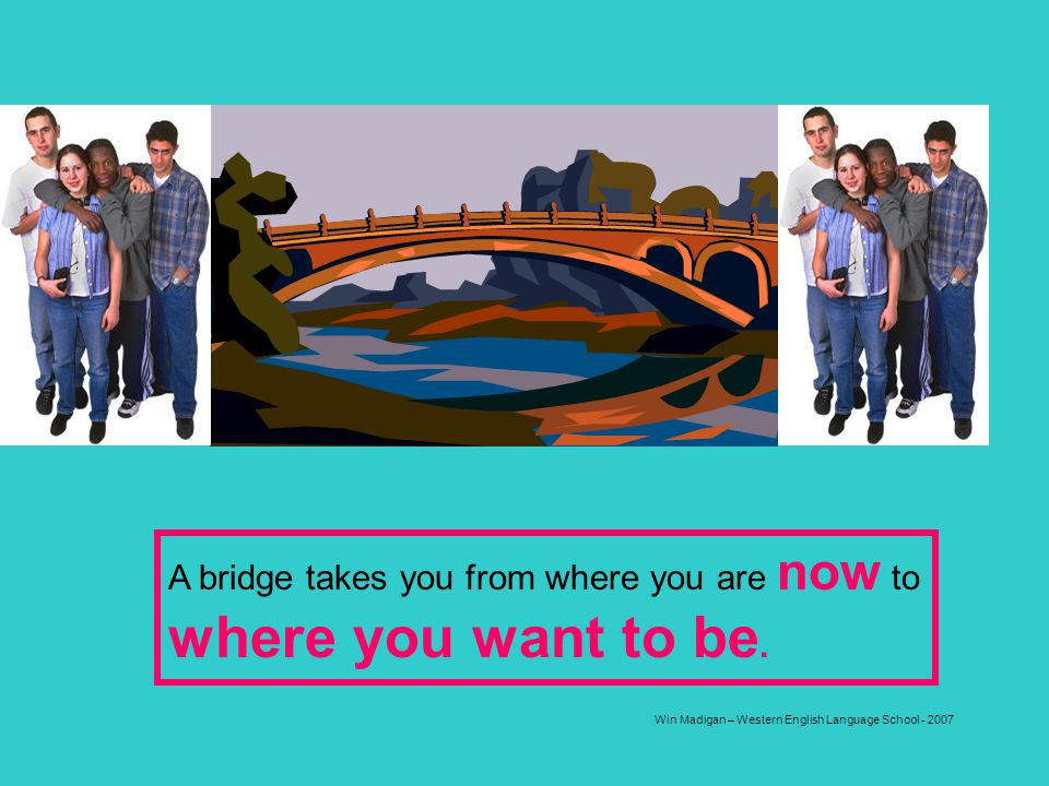 Win Madigan – Western English Language School - 2007 A bridge takes you from where you are now to where you want to be.