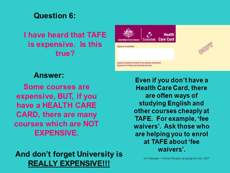 Win Madigan – Western English Language School - 2007 Question 6: I have heard that TAFE is expensive. Is this true? Answer: Some courses are expensive
