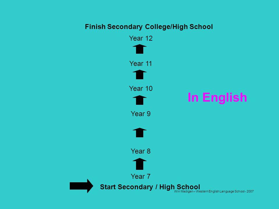 Win Madigan – Western English Language School - 2007 Start Secondary / High School Year 12 Year 11 Year 10 Year 9 Year 8 Year 7 In English Finish Seco