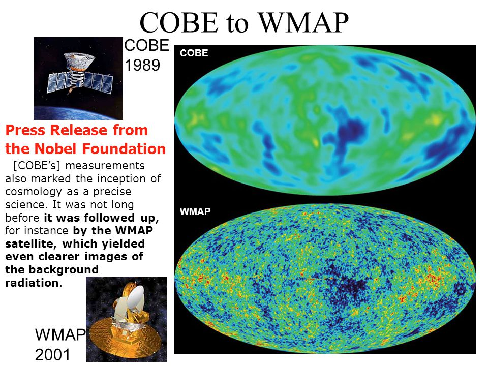 COBE to WMAP COBE WMAP COBE 1989 WMAP 2001 [COBEs] measurements also marked the inception of cosmology as a precise science. It was not long before it