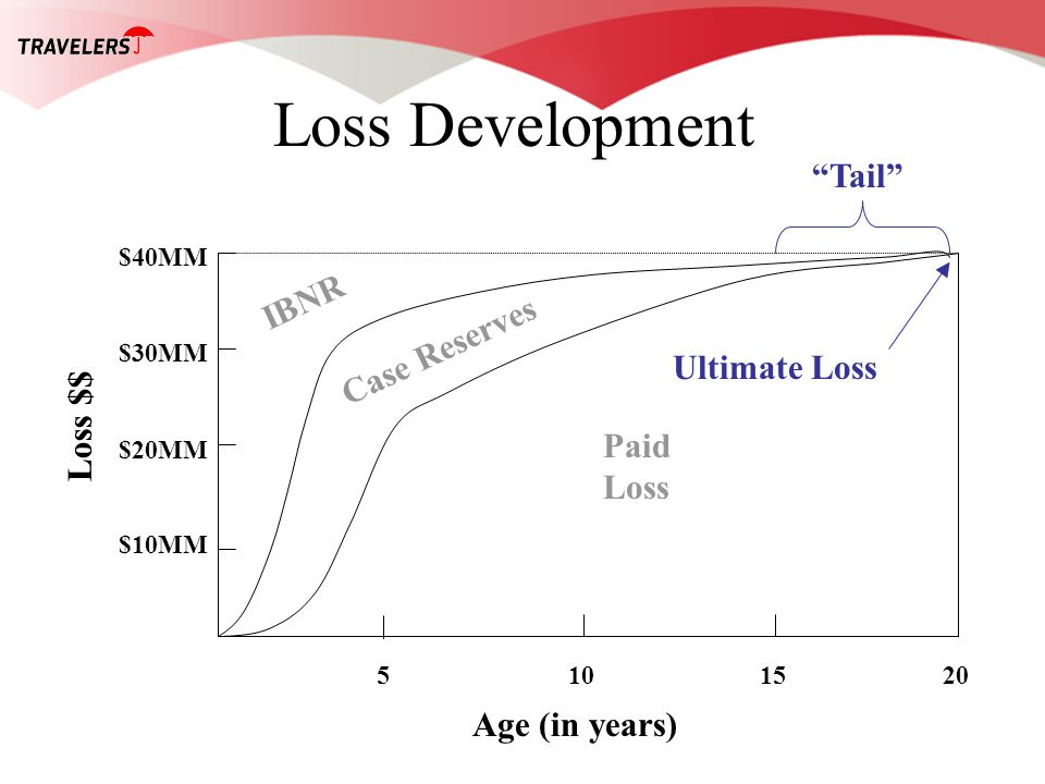 Loss Development Age (in years) Loss $$ 5101520 $10MM $20MM $30MM $40MM Paid Loss Case Reserves IBNR Ultimate Loss Tail