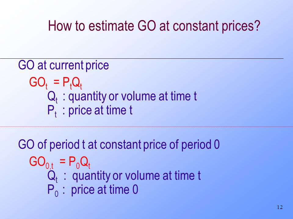 12 How to estimate GO at constant prices.