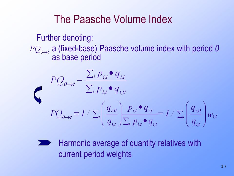 20 The Paasche Volume Index Further denoting: a (fixed-base) Paasche volume index with period 0 as base period Harmonic average of quantity relatives