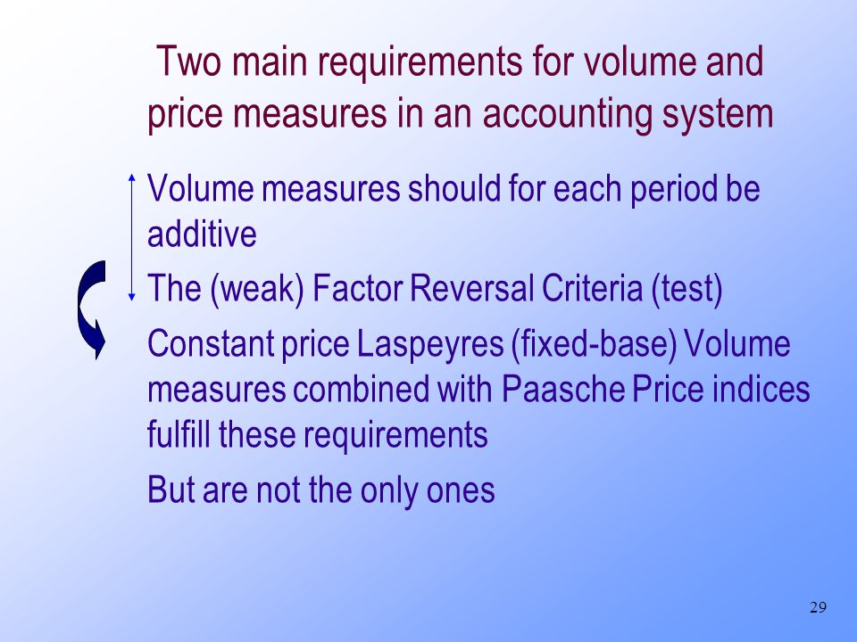 29 Two main requirements for volume and price measures in an accounting system Volume measures should for each period be additive The (weak) Factor Re