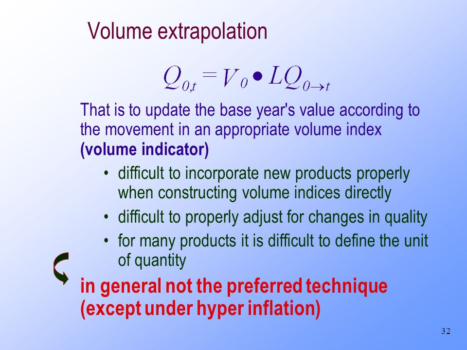 32 Volume extrapolation That is to update the base year's value according to the movement in an appropriate volume index (volume indicator) difficult
