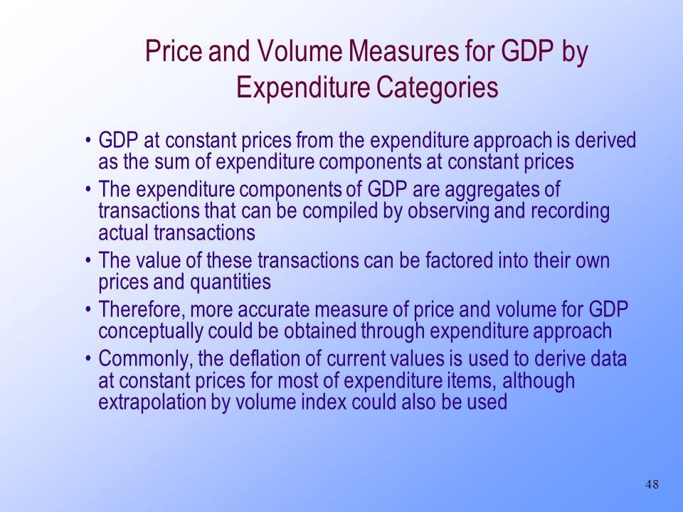 48 Price and Volume Measures for GDP by Expenditure Categories GDP at constant prices from the expenditure approach is derived as the sum of expenditu