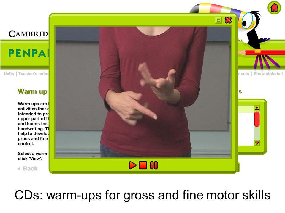 CDs: warm-ups for gross and fine motor skills