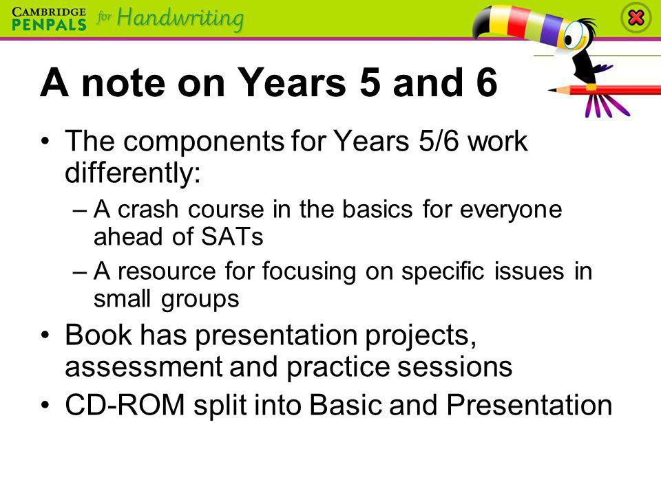 A note on Years 5 and 6 The components for Years 5/6 work differently: –A crash course in the basics for everyone ahead of SATs –A resource for focusi