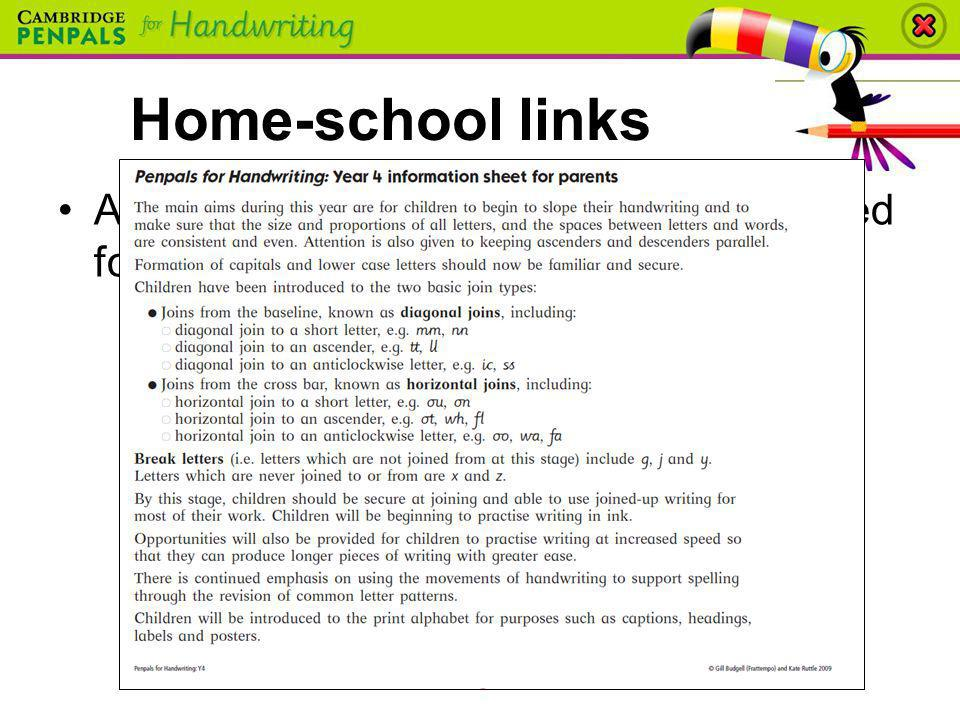 A take-home information sheet is provided for parents in each Teachers Book