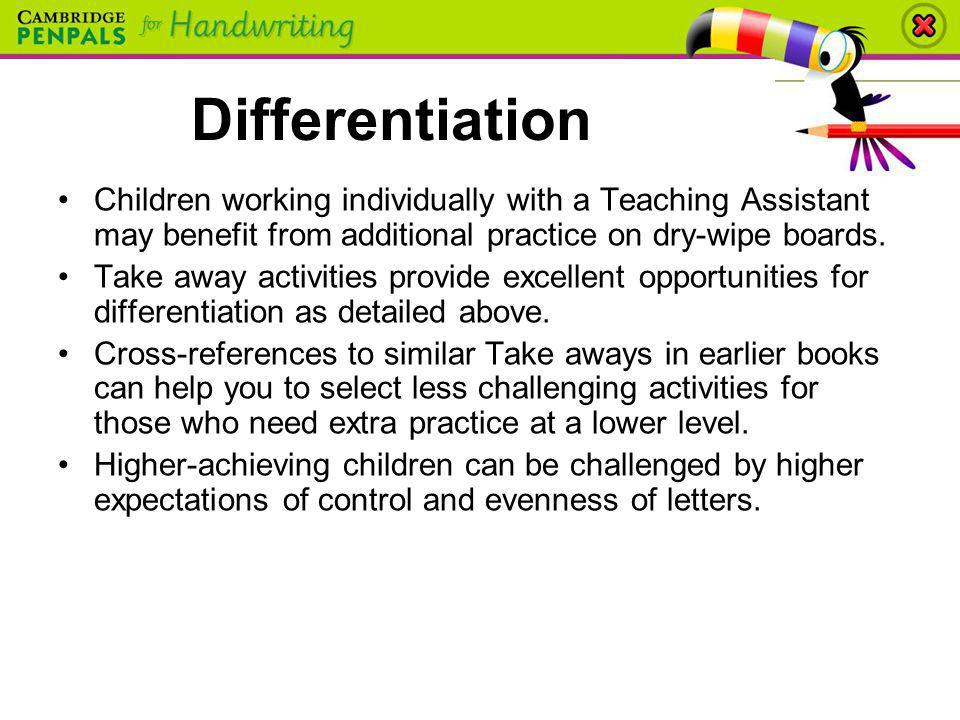Children working individually with a Teaching Assistant may benefit from additional practice on dry-wipe boards. Take away activities provide excellen