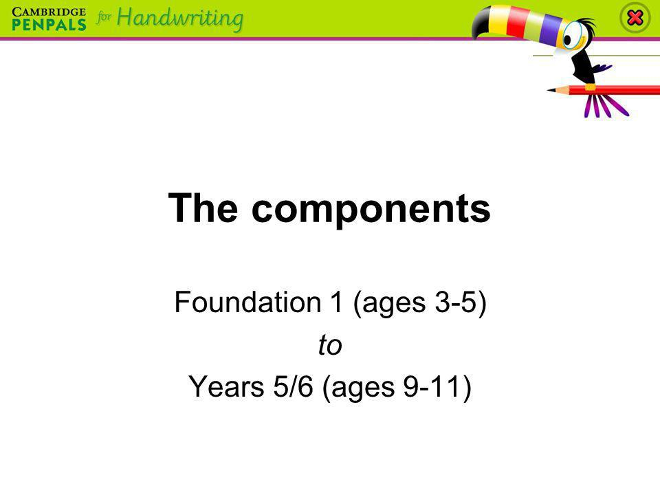 The components Foundation 1 (ages 3-5) to Years 5/6 (ages 9-11)