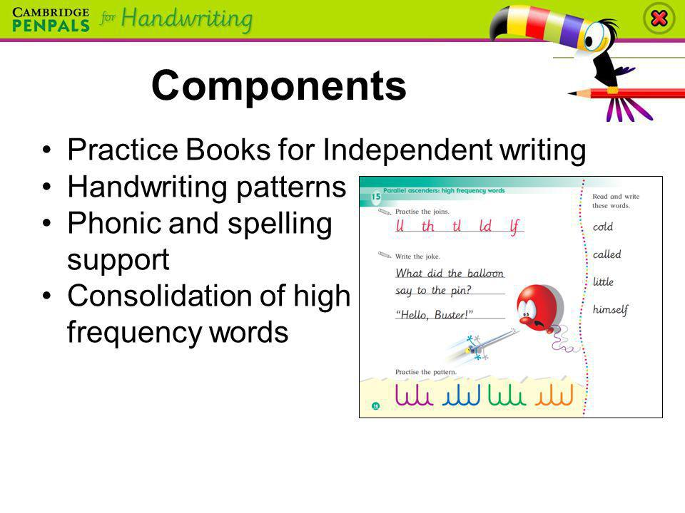 Components Practice Books for Independent writing Handwriting patterns Phonic and spelling support Consolidation of high frequency words