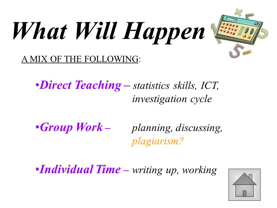 A MIX OF THE FOLLOWING: Direct Teaching – statistics skills, ICT, investigation cycle Group Work – planning, discussing, plagiarism.