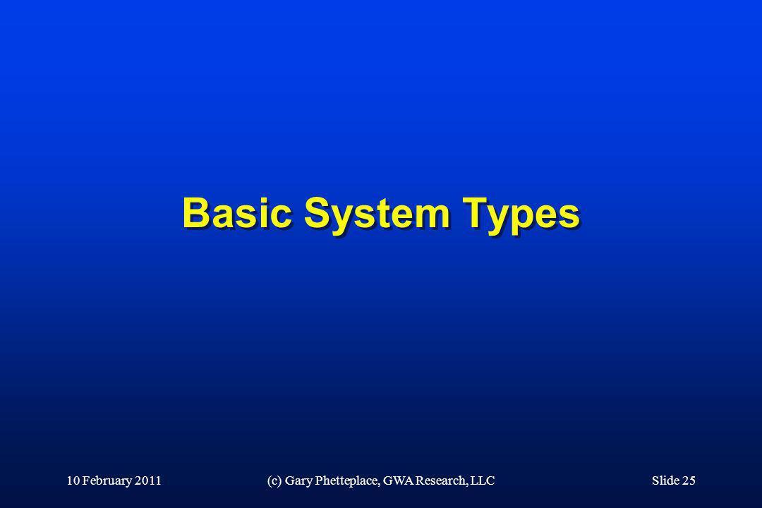 Basic System Types 10 February 2011(c) Gary Phetteplace, GWA Research, LLCSlide 25