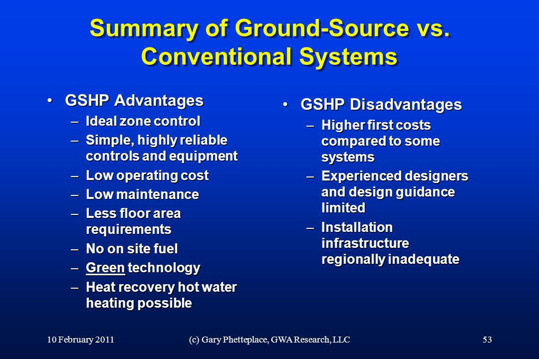 Summary of Ground-Source vs. Conventional Systems GSHP AdvantagesGSHP Advantages –Ideal zone control –Simple, highly reliable controls and equipment –