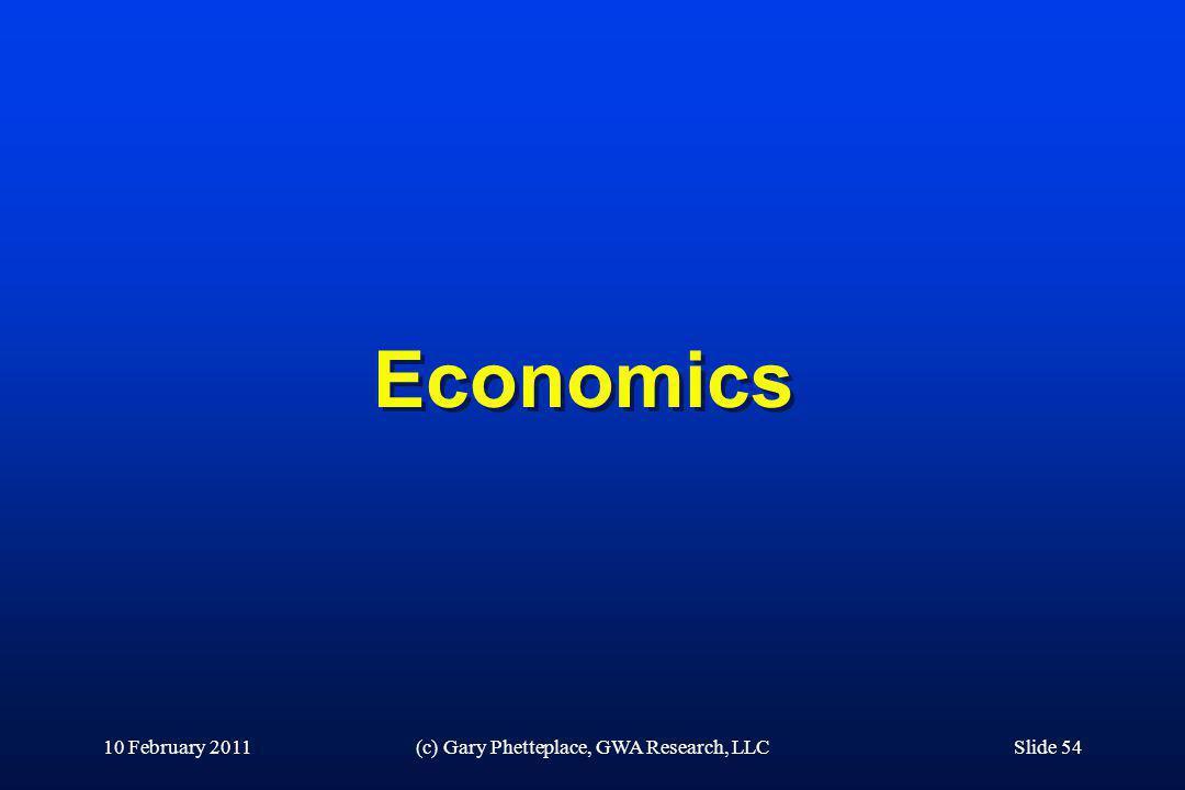 Economics 10 February 2011(c) Gary Phetteplace, GWA Research, LLCSlide 54