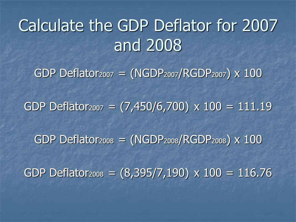 Calculate the GDP Deflator for 2007 and 2008 GDP Deflator 2007 = (NGDP 2007 /RGDP 2007 ) x 100 GDP Deflator 2007 = (7,450/6,700) x 100 = 111.19 GDP De