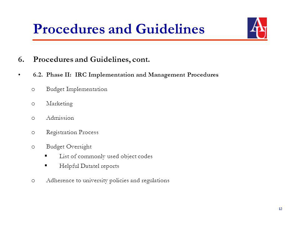 Procedures and Guidelines 6.Procedures and Guidelines, cont.