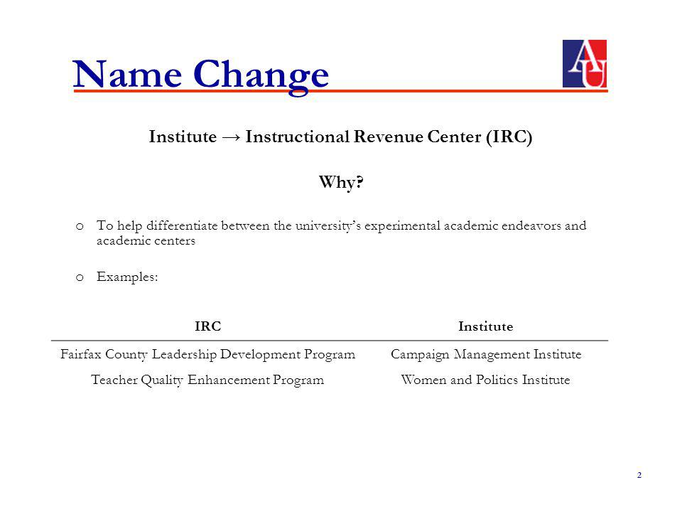 Name Change Institute Instructional Revenue Center (IRC) Why.