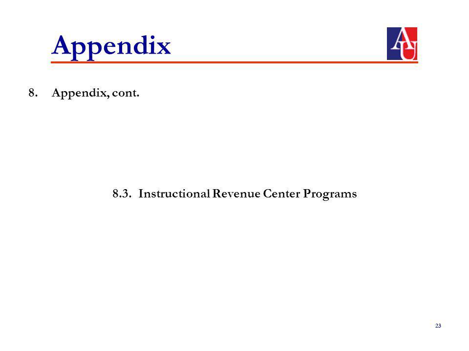 Appendix 8.Appendix, cont. 8.3. Instructional Revenue Center Programs 23