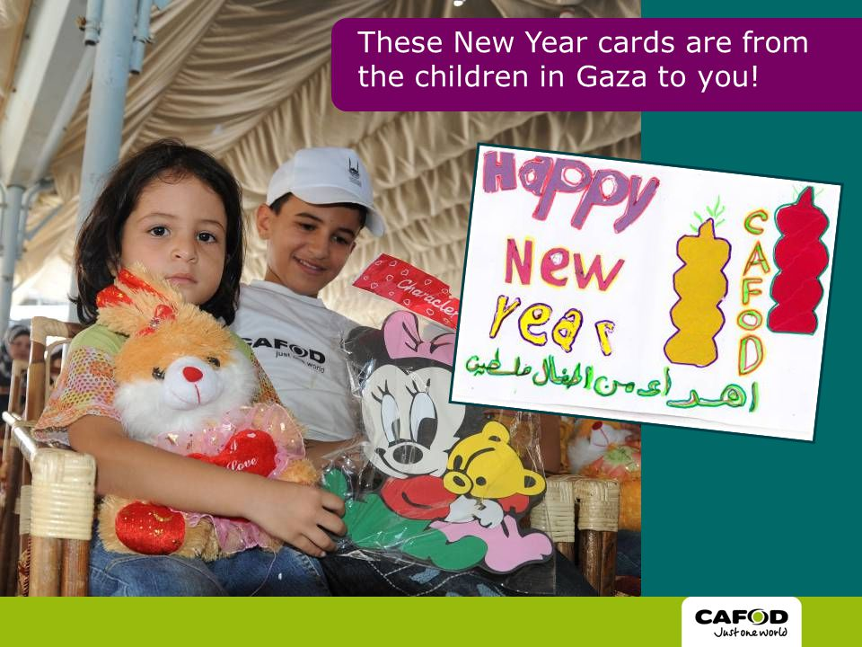 These New Year cards are from the children in Gaza to you!