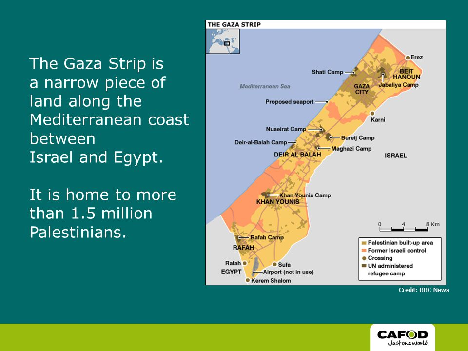 The Gaza Strip is a narrow piece of land along the Mediterranean coast between Israel and Egypt.